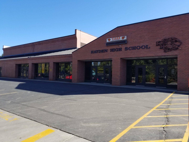 West Facing entrance of Hayden High School